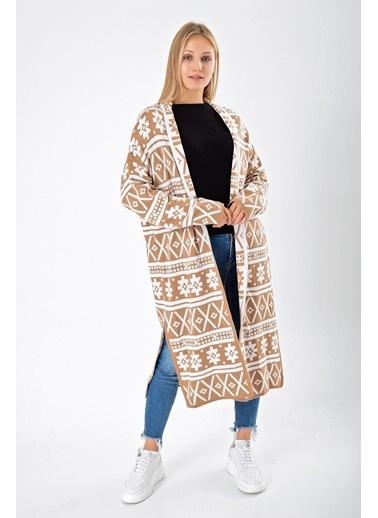 Butikburuç Kadın Camel Desenli Uzun Hırka Camel